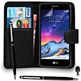 Premium Leather BLACK Wallet Flip Case FOR LG K8 2017 Case Cover with Ball Pen Touch Stylus Screen Protector & Polishing Cloth Black Cap, (WALLET BLACK)
