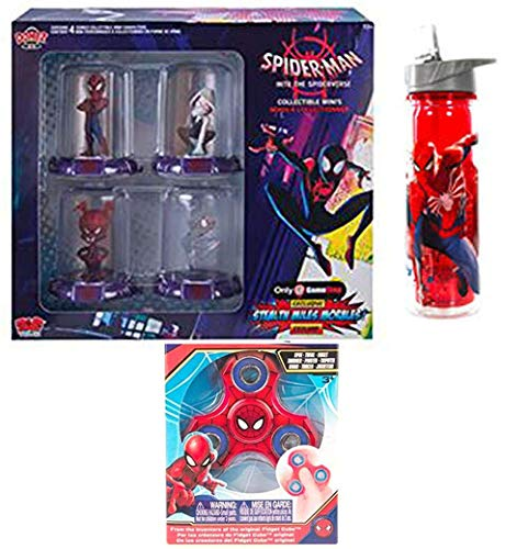 (Spider Gameverse Dome Mini Figures into The Spider-Verse Bundle + Water Bottle Comic Character Spider-Ham Van Domez Box Set 4 Peter Parker, Spider-Gwen, Spider-Ham & Exclusive Stealth Miles Morales)