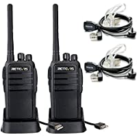 Retevis RT21 UHF 400-480MHz 16 CH Scrambler Walkie Talkie CTCSS/DCS VOX Scan Squelch Two Way Radio(2 Pack) and Covert Air Acoustic Earpiece(2 Pack)