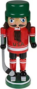 "Clever Creations Traditional Wooden Collectible USA Hockey Christmas Nutcracker | Festive Christmas Decor | 100% Wood | 9"" Tall Perfect for Shelves and Tables"