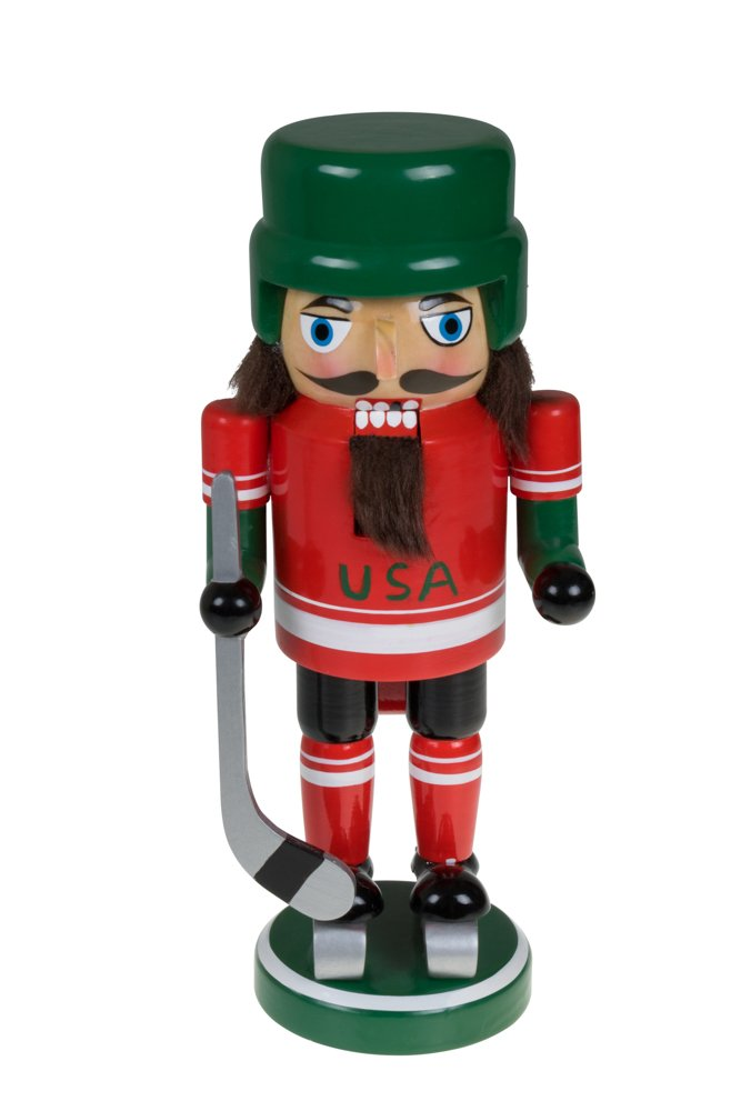 USA Hockey Nutcracker by Clever Creations | Traditional Collectible Wooden Christmas Nutcracker | Festive Holiday Décor | Wearing Ice Skates and Helmet |With Hockey Stick | 100% Wood | 9'' Tall by Clever Creations