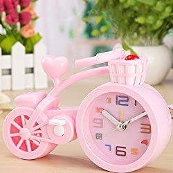XENO-Creative Bicycle Model Alarm Clock Wake up Timer Home Décor Room Ornament Gift(pink)
