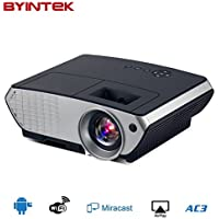 Byintek Android Projector Miracast Airplay DLP Mini Portable IPhone Projector HD Smart Android 4.4 HDMI USB Video Wifi Online Proyectors