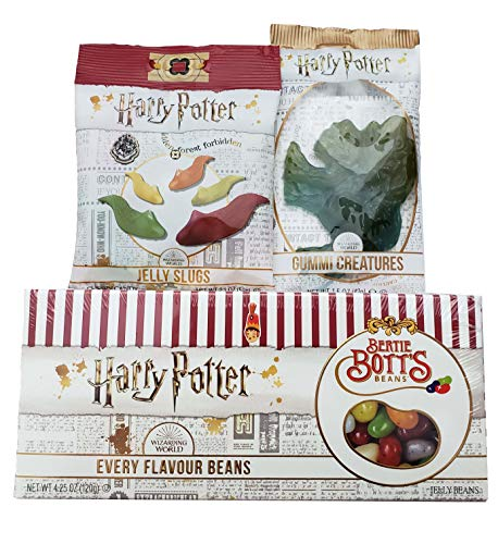 Harry Potter Bertie Bott's Every Flavour Beans Gift Box 4.25 Oz, Gummi Creatures and Jelly Slugs (3 Pack)