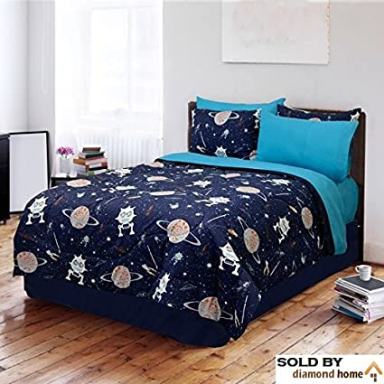 Finest Amazon.com: 4 Piece Kids Sun Moon Stars Comforter Set, Outer Space  HQ04