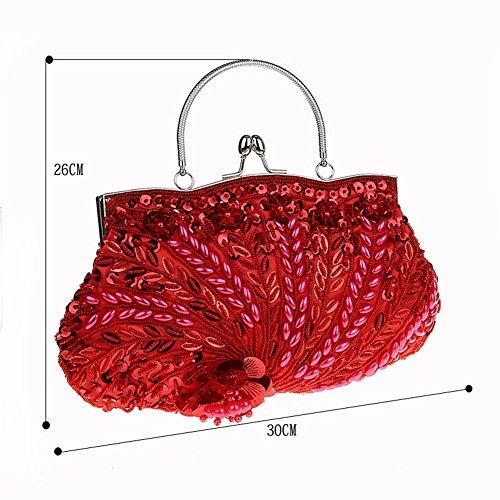 Flores Para Flada Vintage La Las Boda Rojo Embrague De Mano Mujeres Noche Hecho A Cuentas Bolso AwgvwHYq