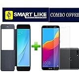 SmartLike Combo Offer for Xiaomi Mi 8 (Black Window FLIP Cover + 1 Tempered Glass for Xiaomi Mi 8