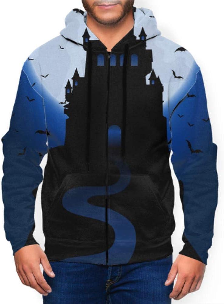 GUJGK Long Sleeve Hoodie Print Halloween Haunted House Jacket Zipper Coat Fashion Mens Sweatshirt Full-Zip S-3xl