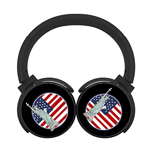 Noise Reduction Wireless Hifi Stereo Bass Over Ear Bluetooth Headphones Foldable Soft Memory Protein Earmuffs For Pc/Cell Phones/Tv 3.5Mm Plug Print Freedom Black