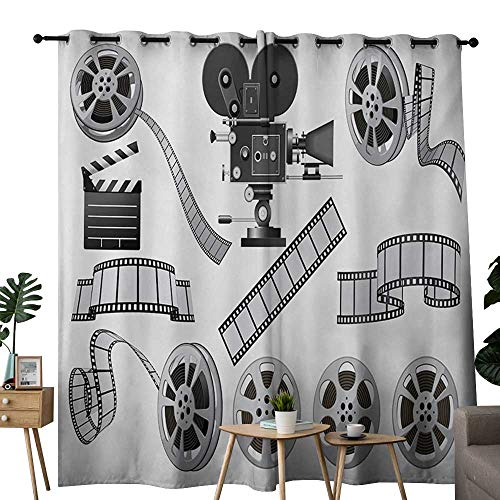 NUOMANAN Kitchen Curtains Movie Theater,Movie Industry Themed Greyscale Illustration of Projector Film Slate and Reel,Grey Black,Rod Pocket Drapes Thermal Insulated Panels Home décor 54