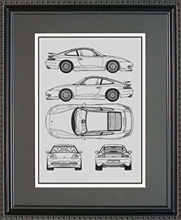 Amazon porsche blueprint framed car art gift choose your porsche blueprint framed car art gift choose your model 16x20 malvernweather Image collections