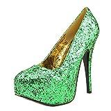Bordello by Pleaser Women's Teeze-06 Platform Pump,Green Glitter,11 M US