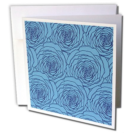 (3dRose Anne Marie Baugh - Flowers - Bright Blue Layered Cabbage Roses Pattern - 12 Greeting Cards with envelopes)