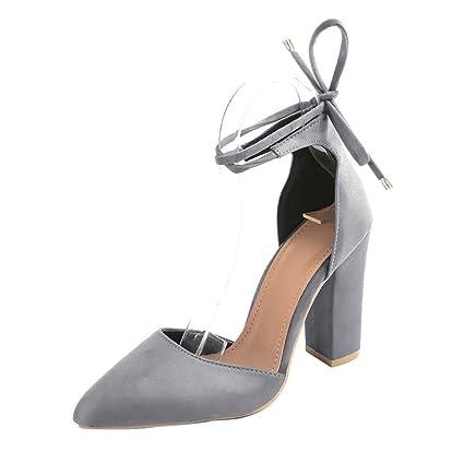 bb823ec74d5440 Chaussures à Bout Pointu Talons Hauts Carrés, Xinan Sexy Sandales Femme  Escarpins High Heels 2018