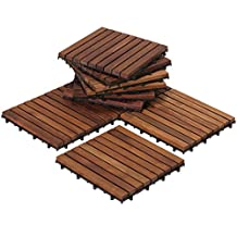 Bare Decor EZ-Floor Interlocking Flooring Tiles in Solid Teak Wood Oiled Finish Set of 10, Long 9 Slat