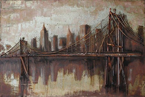 Empire Art Direct ''Bridgescape'' Mixed Media Hand Painted Iron Wall Sculpture by Primo by Empire Art Direct