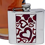 Premium 6 oz Whimsical Red Hearts 304 (18/8) Food Grade Stainless Steel Hip Alcohol Liquor Flask - BPA free and Leak and Rust Proof - Discrete Drinking Gift