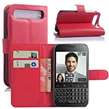 Premium Leather Wallet [ Flip Bracket ] Case Cover for BlackBerry Classic (Wallet - Red)