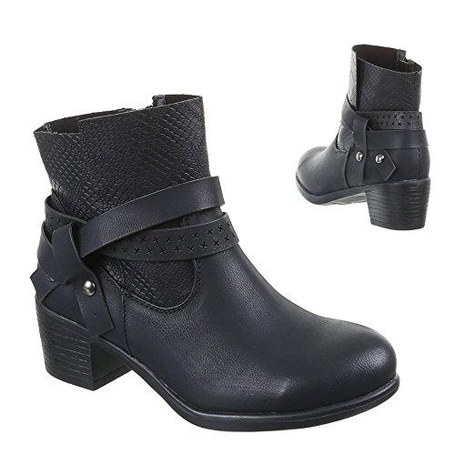 Ital-Design - Botas de Material Sintético para mujer Negro - Schwarz 059-GA