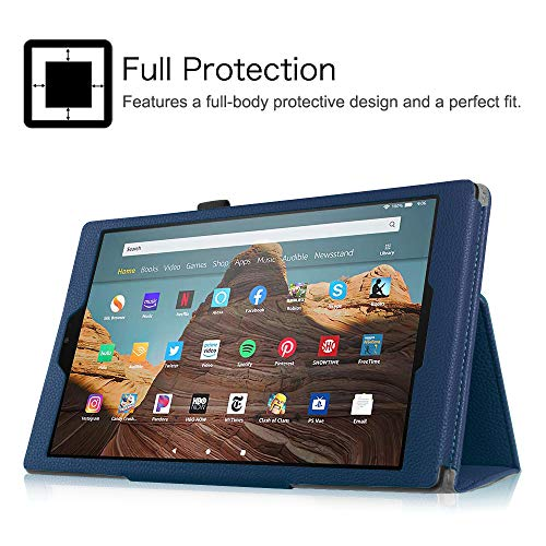 Fintie Folio Case for All-New Amazon Fire HD 10 Tablet (Compatible with 7th and 9th Generations, 2017 and 2019 Releases) - Premium PU Leather Slim Fit Stand Cover with Auto Wake/Sleep, Navy