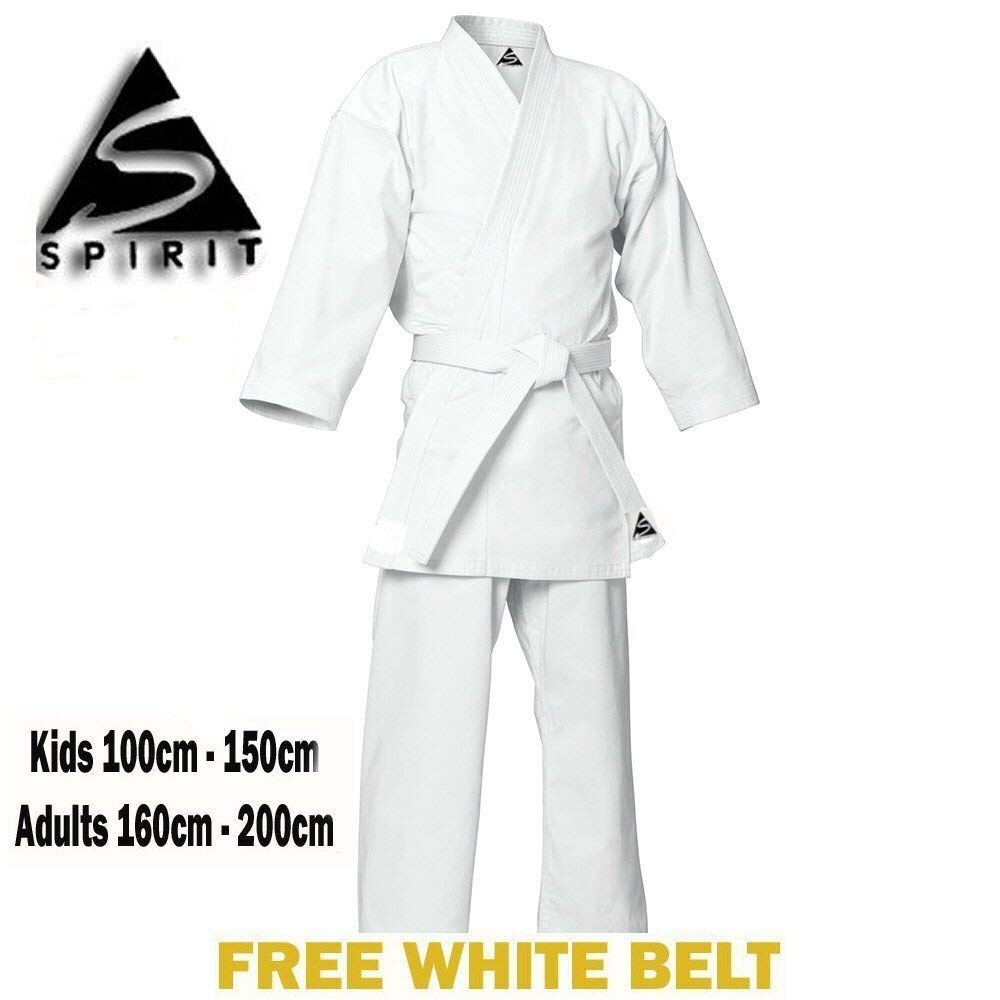 Karate 9oz 100% cotón Uniforme de Karate blanco (2/150cm) Spirit Sports