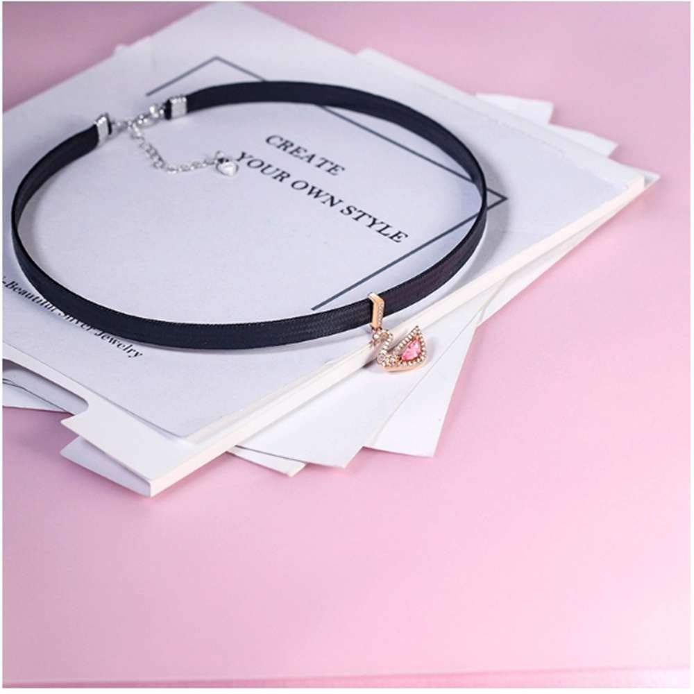 SONGBB necklace Fashion Full Diamond Swan Necklace Personality Clavicle Chain Necklace Jewelry