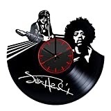Jimi Hendrix Handmade Vinyl Record Wall Clock – Get unique living room or home room wall decor – Gift ideas for friends, men and boys – Rock Music Unique Modern Art Design