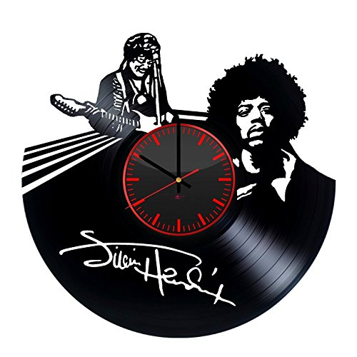 Jimi Hendrix Handmade Vinyl Record Wall Clock - Get unique living room or home room wall decor - Gift ideas for friends, men and boys - Rock Music Unique Modern Art Design ()