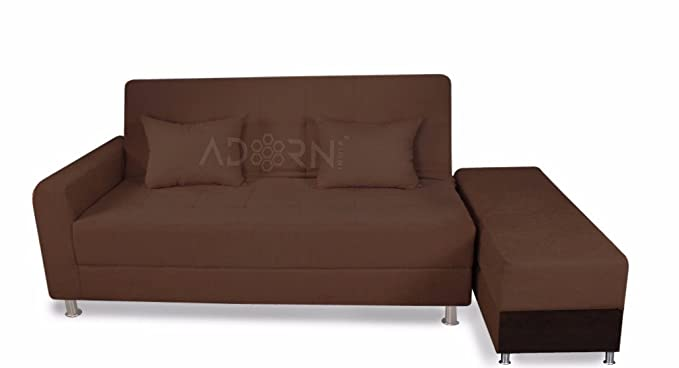 Adorn India Rectangular Flora Sofa Cum Bed (Brown)