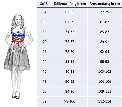 Trachtenfabrik Dirndl BF147b mit Bluse und Schürze 3 teilig