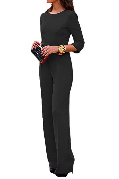 cc0c97b3fe6b tuta donna jumpsuit elegante E 3 4 Manica Scollato Intero Lavoro Ufficio  Tute Rompers casual party  Amazon.it  Abbigliamento