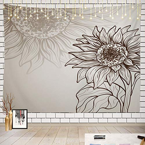 Batmerry Sunflower Tapestry, Black and White Sunflower Sketch Design Picnic Mat Beach Towel Wall Art Decoration for Bedroom Living Room Dorm ()