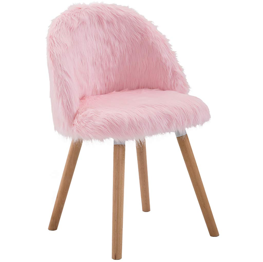 Pink Nordic Creative Makeup Chair, Solid Wood Computer Chair, High Resilience Sponge Filling Plush, Ergonomic Design, for Restaurant Office Counter Family