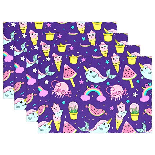 Promini Heat-Resistant Placemats, Cute Ice Cream Rainbow Unicorn Washable Polyester Table Mats Non Slip Washable Placemats for Kitchen Dining Room Set of 4 -