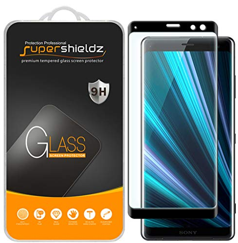 [2-Pack] Supershieldz for Sony Xperia XZ3 Tempered Glass Screen Protector, [Full Cover][3D Curved Glass] Anti-Scratch, Bubble Free, Lifetime Replacement Warranty (Black)