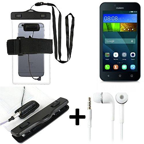 Estuche estanco al agua con entrada de auriculares para Huawei Y5 + auricular incluido, transparente | Trotar bolsa de playa al aire libre caja brazalete del teléfono caso de cáscara bajo playa - K-S_