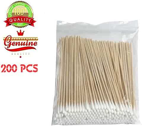 200 PCS Long Wooden Cotton Swabs, Cleaning Sterile Sticks With Wood Handle for Oil Makeup Gun Applicators, Eye Ears Eyeshadow Brush and Remover Tool, Cutips Buds for Baby And Home Accessories