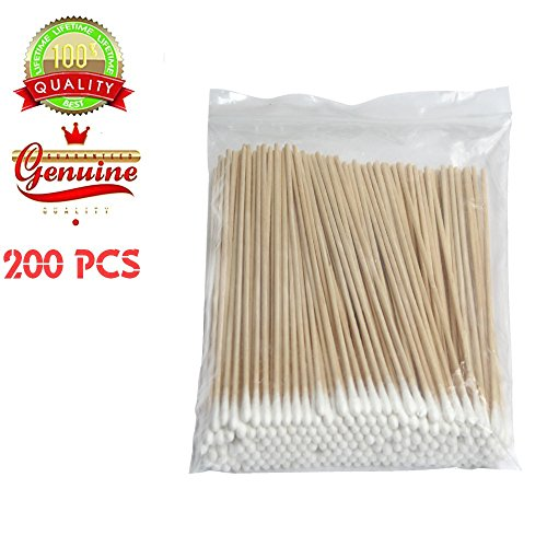 200 PCS Long Wooden Cotton Swabs, Cleaning Sterile Sticks With Wood Handle for Oil Makeup Gun Applicators, Eye Ears Eyeshadow Brush and Remover Tool, Cutips Buds for Baby And Home Accessories -
