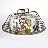 MacKenzie Childs Flower Market Enamel Cake Carrier White