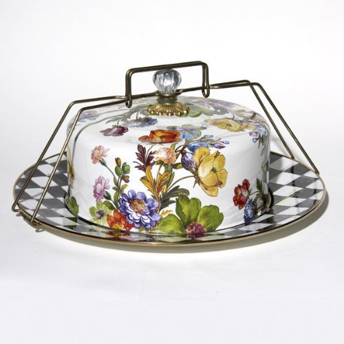 MacKenzie Childs Flower Market Enamel Cake Carrier White by MacKenzie-Childs