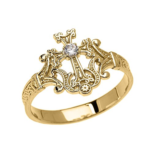 14k Yellow Gold Solitaire Diamond Orthodox Cross with Armenian Knot Design Elegant Ring(Size 7)