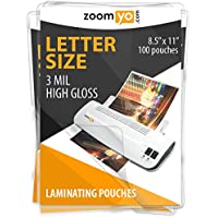 Zoomyo Laminating Sheets Letter Size 8.9 x 11.4 inches, 3 mil thick, gloss - 100 sheets per pack