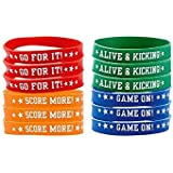 "Soccer Goal Birthday Party Bracelets Favour, Silicone, 9"" x 1"", Pack of 12"
