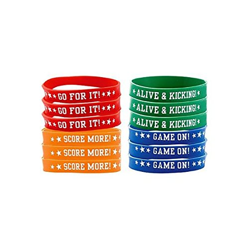 Soccer Goal Birthday Party Bracelets Favour, Silicone, 9