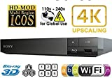 SONY BDP-S6500 2K/4K UPSCALING 2D/3D BUILT-IN WI-FI REGION FREE 0-8 AND ALL ZONE A,B,C BLURAY PLAYER WITH WORLDWIDE USE AND COME WITH FREE HDMI CABLE.