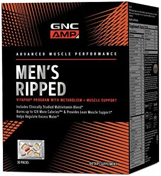 GNC AMP Mens Ripped Vitapak Program, 30 Packs, with Metabolism and Muscle Support 1