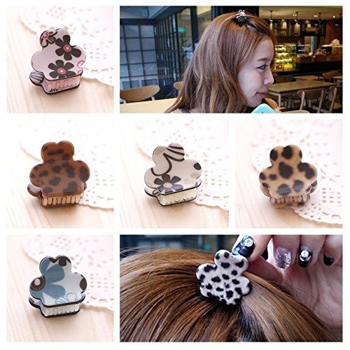 Casualfashion 6Pcs Vintage Korean Hair Accessories for Women Girls Mini Leopard Bangs Clip Gripper Hair Claw