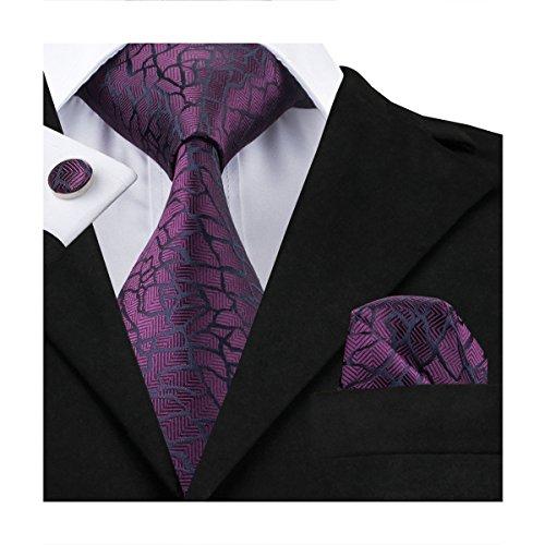 Hi-Tie Mens Purple Novelty Design Woven Silk Tie Necktie (Purple Mens Tie)