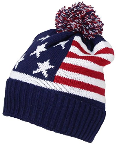 Best Winter Hats Adult American Flag Cuffed Knit Beanie W/Pom Pom (One Size)