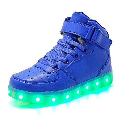 High Top USB Charging LED Shoes Flashing Fashion Sneakers for Kids Boots Girls Boys (Blue-02 (Www Tennis Trainer Com)